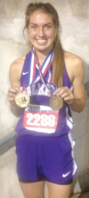 <p>Cushing hurdler Sammi Jo Brashears celebrates winning gold medals in the 100 and 300 hurdles at the state track meet last week in Austin.</p>