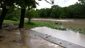 Flooding at low water crossing near Lions Park in Center Point