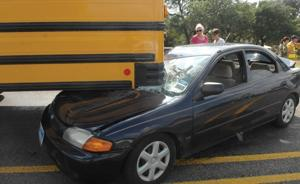 School bus struck in 3-car accident
