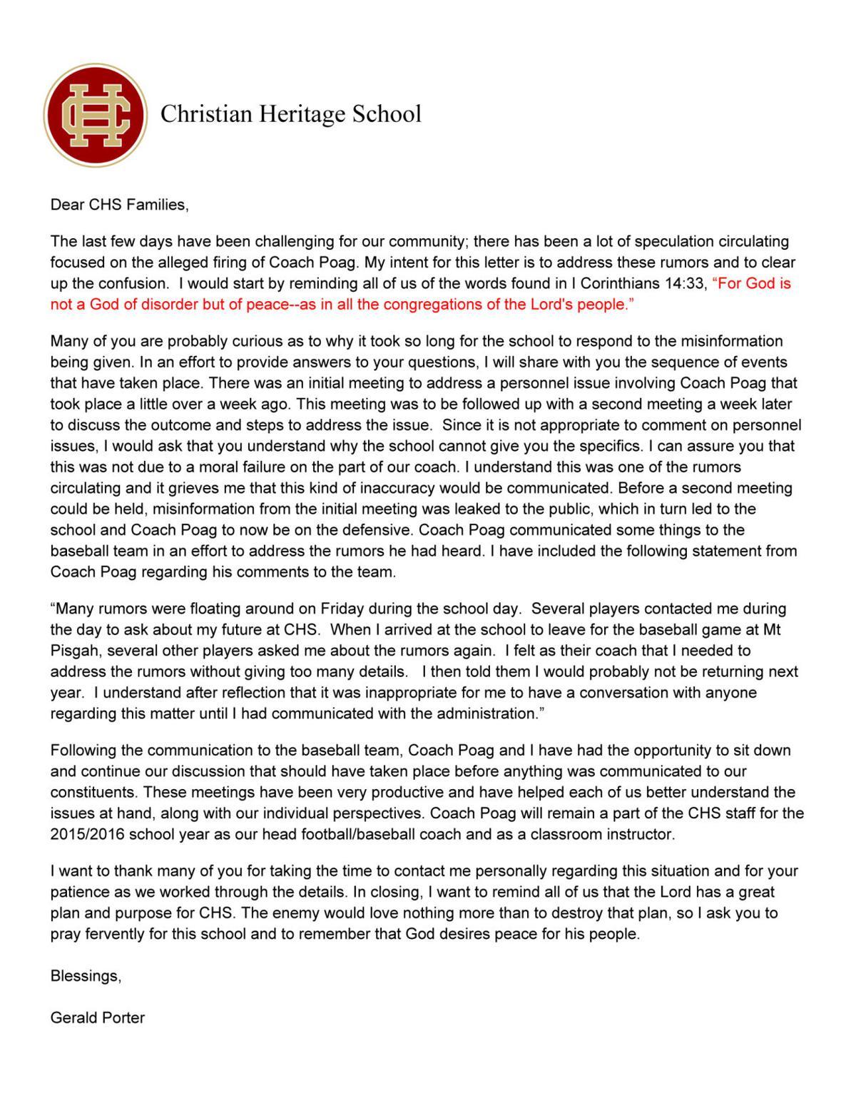 parent letter for football baseball sports team duty