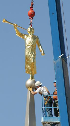Angel placed atop LDS temple