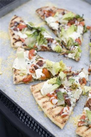 Food American Table Grilled BLT Pizza