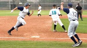 Baseball: Highland Vs Desert Vista: Desert Vista's Isaiah Deutsch (15) rounds third during the baseball game between Desert Vista and Highland at Highland High School on Wednesday, April 2, 2014. - [David Jolkovski/Tribune]