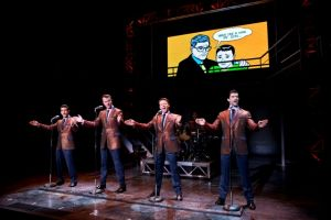 "<p>From left, Hayden Milanes, Quinn Van Atwerp, Nicolas Dromand and Adam Zelasko perform in ""Jersey Boys.""</p>"