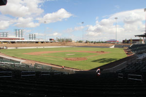 "<p>The stadium should hold approximately 15,000 people, which would make it the largest in the Cactus League. The designers also accounted for shading, and people sitting by third base should get an excellent view of the neighboring mesas. ""It's a very intimate feel,"" Piper said. [Eric Mungenast/Tribune]</p>"