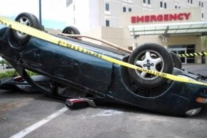 Wrecked car display warns of driving dangers