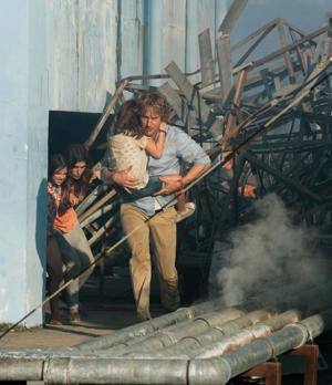 """<p>Owen Wilson, right, and Lake Bell appear in a scene from, """"No Escape."""" (The Weinstein Company via AP)</p>"""