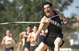 <p>Jack O'Connell plays Olympic track star Louis Zamperini, who was lost in the Pacific for 47 days after his plane was shot down during World War II.</p>