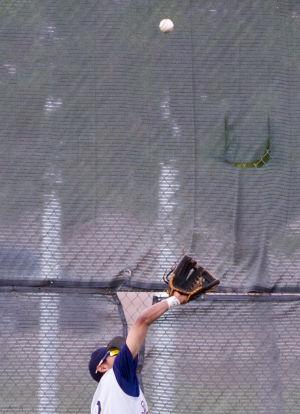 Baseball: Highland Vs Desert Vista: Desert Vista's AJ Valencia (2) catches the ball during the baseball game between Highland and Desert Vista at Highland High School on Wednesday, April 2, 2014. - [David Jolkovski/Tribune]