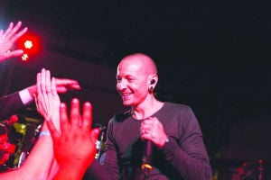 <p>Chester Bennington performs at Stars of the Season</p>