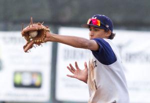 Baseball: Highland Vs Desert Vista: Desert Vista's Keenan Bartlett (11) catches the ball during the baseball game between Highland and Desert Vista at Highland High School on Wednesday, April 2, 2014. - [David Jolkovski/Tribune]