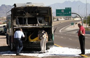 Bus catches fire on Loop 202