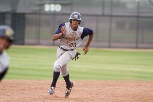Baseball: Highland Vs Desert Vista: Desert Vista's Zach Hardy (23) runs to third base during the baseball game between Highland and Desert Vista at Highland High School on Wednesday, April 2, 2014. - [David Jolkovski/Tribune]