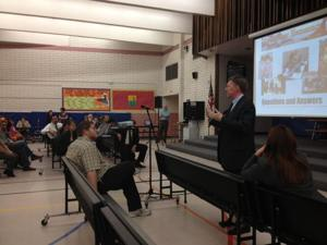 Mike Cowan speaks to Eisenhower Elementary School