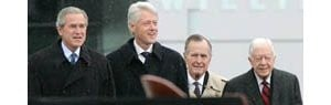 Former presidents pay tribute to Clinton
