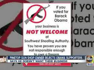 Arizona gun shop bans Obama voters