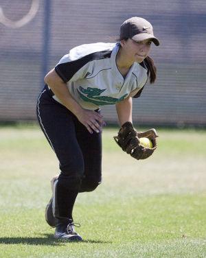 Softball: Highland Vs Desert Vista: Highland's Andrea Rizzo (1) catches the ball during the softball game between Highland and Desert Vista at Highland High School on Saturday, May 3, 2014. - [David Jolkovski/Tribune]