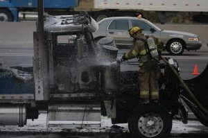 Semitrailer fire closes I-10 at Baseline 