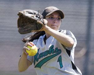 Softball: Highland Vs Desert Vista: Highland's Andrea Rizzo (1) throws the ball during the softball game between Highland and Desert Vista at Highland High School on Saturday, May 3, 2014. - [David Jolkovski/Tribune]