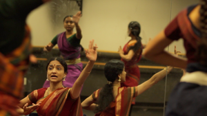 <p>Srimathy Mohan instructs her class on the finer points of Bharatanatyam, classical Indian dance. (Aug. 16, 2015) </p>