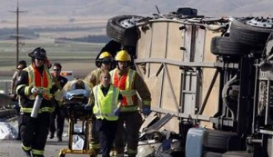 5 killed, dozens hurt in California bus crash