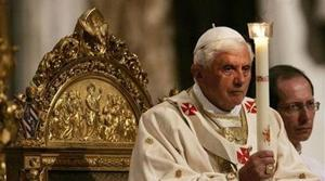 Pope carries Easter candle in Vatican basilica