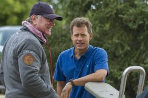 "<p>This image released by Sony Pictures shows Randall Wallace, left, and Greg Kinnear on the set of ""Heaven Is For Real."" (AP Photo/Sony Pictures, Allen Fraser)</p>"