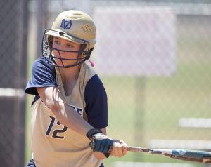Softball: Highland Vs Desert Vista: Desert Vista's Brooke Hughes (12) bats during the softball game between Highland and Desert Vista at Highland High School on Saturday, May 3, 2014. - [David Jolkovski/Tribune]