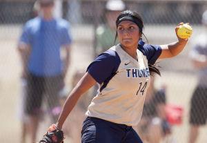 Softball: Highland Vs Desert Vista: Desert Vista's Marissa Moreno (14) throws the ball during the softball game between Highland and Desert Vista at Highland High School on Saturday, May 3, 2014. - [David Jolkovski/Tribune]