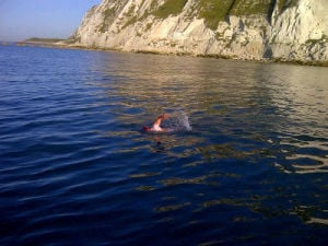 Kent Nicholas swims English Channel