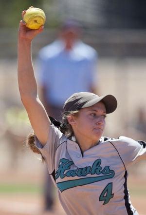 Softball: Highland Vs Desert Vista: Highland's Faith Napodano (4) pitches during the softball game between Highland and Desert Vista at Highland High School on Saturday, May 3, 2014. - [David Jolkovski/Tribune]