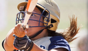 Softball: Highland Vs Desert Vista: Desert Vista's Kaylee Dietrich (5) bats during the softball game between Highland and Desert Vista at Highland High School on Saturday, May 3, 2014. - [David Jolkovski/Tribune]