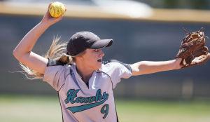 Softball: Highland Vs Desert Vista: Highland's Ashlee Davis (9) throw the ball during the softball game between Highland and Desert Vista at Highland High School on Saturday, May 3, 2014. - [David Jolkovski/Tribune]