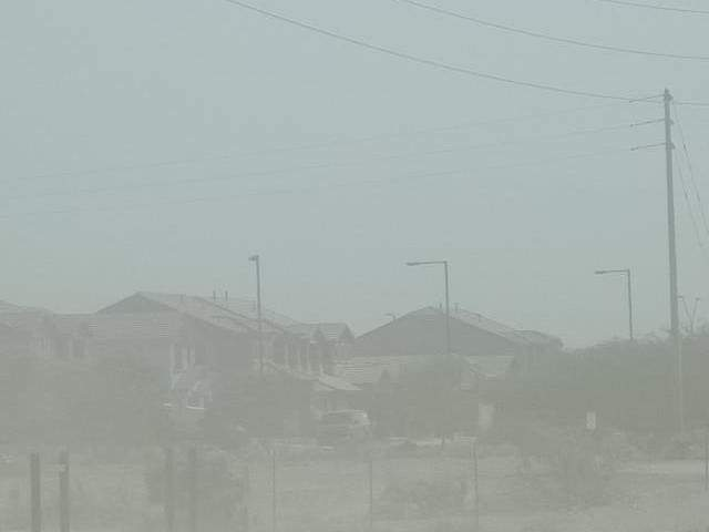 Strong winds, dirt, dust