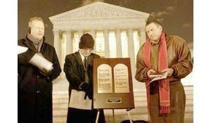 High court hears debate over commandments