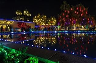 Christmas lights at Mormon temple