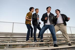 <p>Left to right: Andy Vega, Ezekiel Smith, Jason​Morse​and Ben​Leach in Seton's <em>Grease.</em></p>