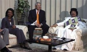 Rice meets Gadhafi on historic visit to Libya 
