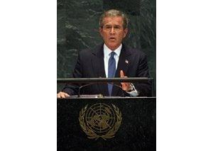 Bush challenges U.N. to back Iraq plan