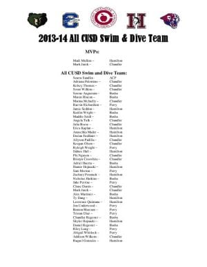 2013 Chandler All-District swimming and diving team
