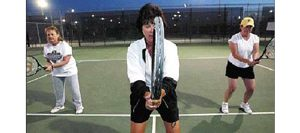 Only women are served at tennis class