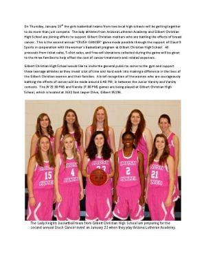 Gilbert Christian girls' hoops hosts cancer awareness Jan. 23