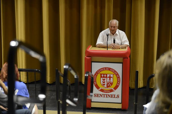 Tommy Lasorda speaks at Seton Catholic