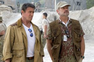 "<p>Sylvester Stallone, left, and Kelsey Grammer in a scene from ""Expendables 3."" (AP Photo/Lionsgate, Phil Bray)</p>"