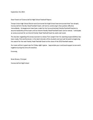 Letter from Corona del Sol to football parents