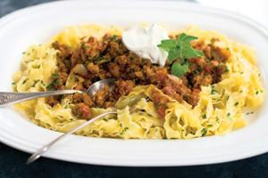 Chipotle barbecue porky pappardelle