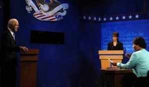 `SNL' sends up VP debate with Fey, Queen Latifah