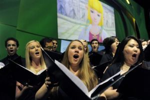 <p>In this June 7, 2011 file photo, a choir singsat the Pantages Theater in Hollywood. (AP Photo/Chris Pizzello, file)</p>
