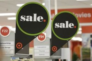 <p>This Thursday, Nov. 28, 2013 shows sale signs are seen at a Target Store in Colma, Calif. Instead of waiting for Black Friday, which is typically the year's biggest shopping day, more than a dozen major retailers are opening on Thanksgiving day this year. (AP Photo/Jeff Chiu)</p>
