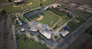 <p>The City of Mesa released new renderings in March of what the Chicago Cubs new spring training facility is expected to look like when completed prior to the 2014 spring session. [Courtesy City of Mesa]</p>